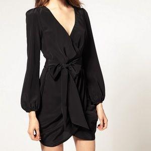 ASOS Black Wrap Mini Dress Size 8